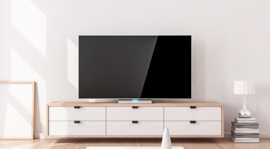 Un meuble TV vintage pour redonner des couleurs au salon